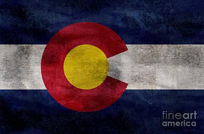 Colorado Flag Photograph - Vintage Colorado Flag by Jon Neidert