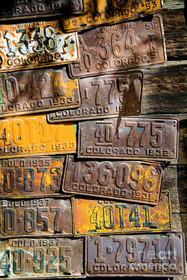 Photograph - Vintage Colorado License Plates by The Forests Edge Photography - Diane Sandoval