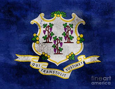 Vintage Connecticut Flag Art Print by Jon Neidert
