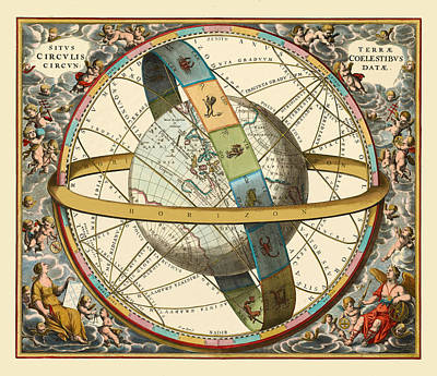 Photograph - Vintage Constellation Chart 1661d by Andrew Fare