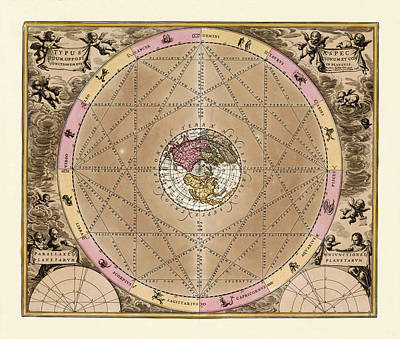 Photograph - Vintage Constellation Chart 1707 by Andrew Fare