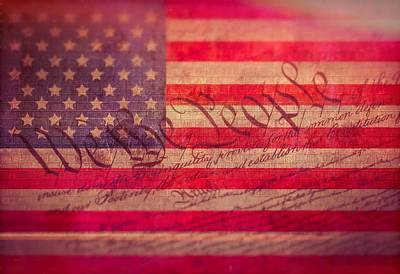 Bill Of Rights Mixed Media - Vintage Constitution American Flag by Dan Sproul
