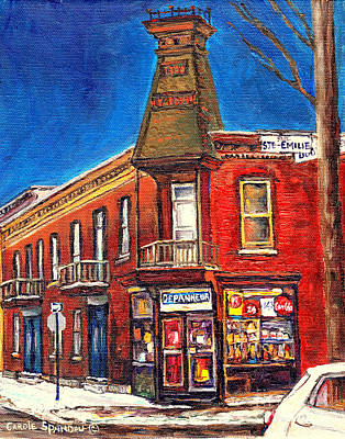 Painting - Vintage Corner Grocery Store Montreal Memories Depanneur Winter Scene Canadian Art Carole Spandau    by Carole Spandau