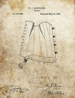 Lace Mixed Media - Vintage Corset Patent by Dan Sproul