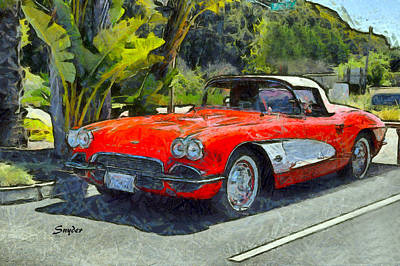 Photograph - Vintage Corvette Pismo Beach California by Floyd Snyder
