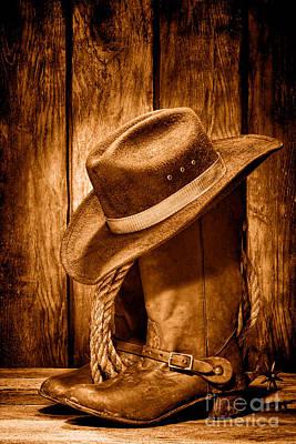 Cowboy Boots Photograph - Vintage Cowboy Boots - Sepia by Olivier Le Queinec