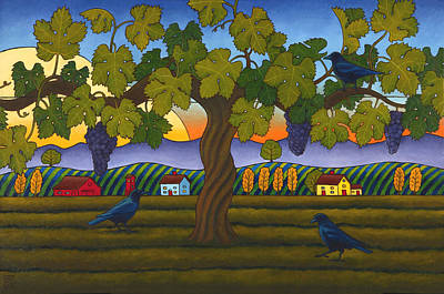 Grapevines Painting - Vintage Crow by Stacey Neumiller