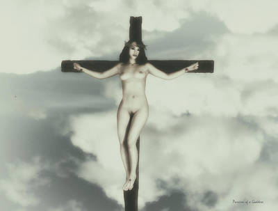 Vintage Crucified Woman Art Print by Ramon Martinez