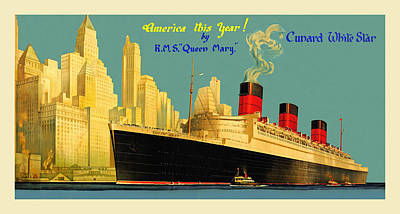 Photograph - Vintage Cunard Ad 1936 by Andrew Fare