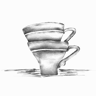 Coffee Drawing - Vintage Cups by Brenda Bryant