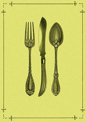 Food And Beverages Photograph - Vintage Cutlery 3 by Mark Rogan