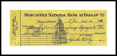 Drawing - Vintage Dallas Bank Check Signed By Jack Ruby Killer Of Lee Harvey Oswald by Peter Gumaer Ogden