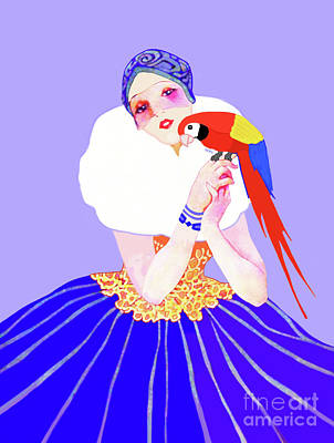 Painting - Vintage Dancer With Parrot by Marian Cates