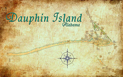 Digital Art - Vintage Dauphin Island Map by Greg Sharpe