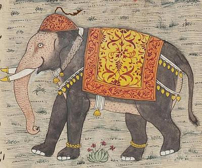 Animals Drawings - Vintage Decorated Elephant Painting - 17th Century by CartographyAssociates