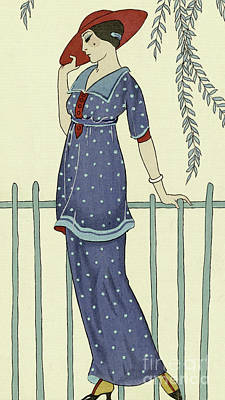 Polkadots Drawing - Vintage Design For A Bathing Dress by Georges Barbier