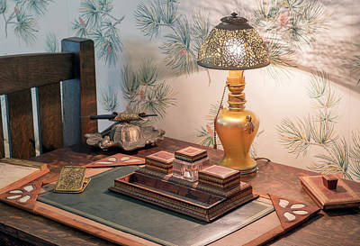 Photograph - Vintage Desk Set, Lamp, Ink Well by Betty Denise