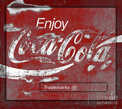 Photograph - Vintage Dimensional Red Coca Cola Sign Square by John Stephens