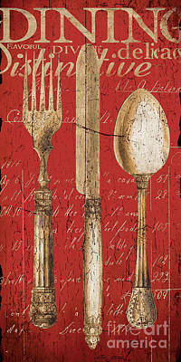 Cafe Wall Art - Painting - Vintage Dining Utensils In Red by Grace Pullen