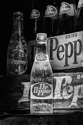 Photograph - Vintage Dr Pepper Bottles In Black And White by JC Findley