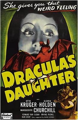 Dracula Digital Art - Vintage Dracula's Daughter Movie Poster by Joy McKenzie