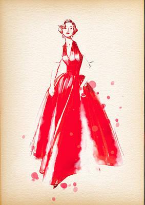 Vintage Dress Red Ball Gown 2 - By Diana Van Art Print by Diana Van