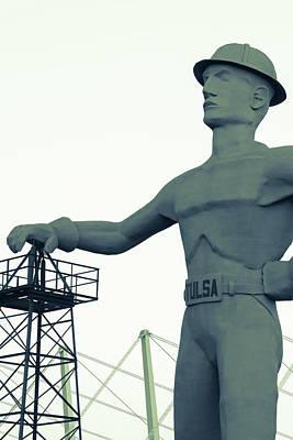 Photograph - Vintage Driller Statue - Tulsa Oklahoma by Gregory Ballos