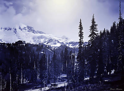 Vintage... Driving Up To Mount Rainier Early 1900 Era... Art Print