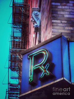 Photograph - Vintage Drugstore Pharmacy Sign - Rx - Variation by Miriam Danar