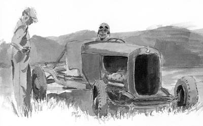 Drawing - Vintage Dry Lakes Scene Sketch by David King