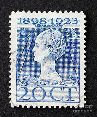 Photograph - Vintage Dutch Postage Stamp Of Queen Wilhelmina In Art Nouveau S by Patricia Hofmeester