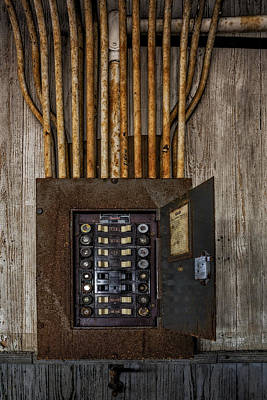 Fused Photograph - Vintage Electric Panel by Susan Candelario