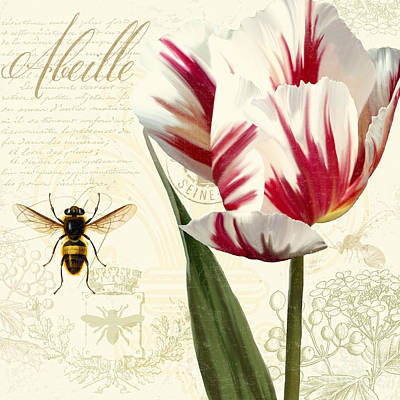 Vintage Elements Botanical Study, Tulip Bumble Bee Art Print