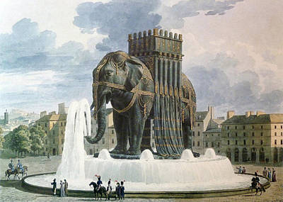 Animals Drawings - Vintage Elephant of The Bastille Illustration by ArtAssociates