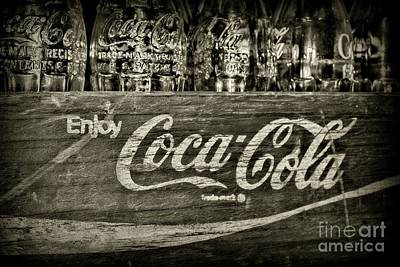 Photograph - Vintage Enjoy Coca-cola Black And White by Paul Ward