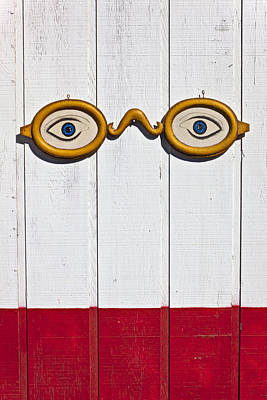 Vintage Eye Sign On Wooden Wall Art Print