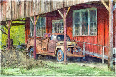 Fire Truck Drawing - Vintage F5 Fire Truck by L Wright