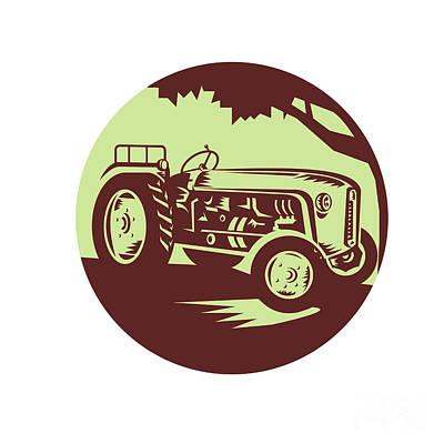 Vintage Farm Tractor Circle Woodcut Art Print