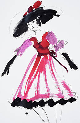 Painting - Vintage Fashion In Pink And Black by Amara Dacer