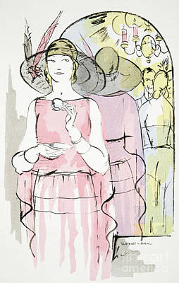 Vintage Fashion Plate   Twenties Tea Dress Art Print