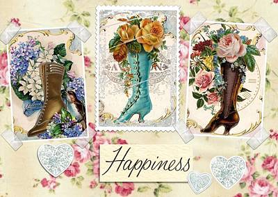 Mixed Media - Vintage Fashion Victorian Boots by Joy of Life Arts Gallery