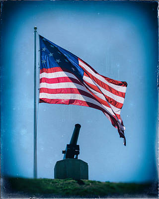 Photograph - Vintage Federal Hill Flag And Cannon by Bill Swartwout