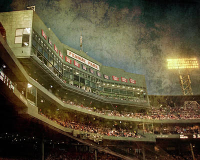 Photograph - Vintage Fenway Park At Night by Joann Vitali