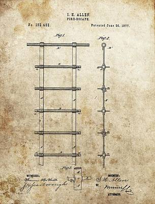 Drawing - Vintage Fire Escape Patent by Dan Sproul