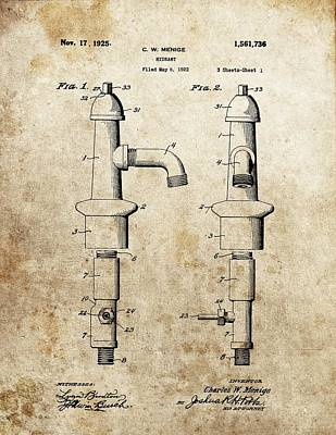 Drawing - Vintage Fire Hydrant Patent by Dan Sproul