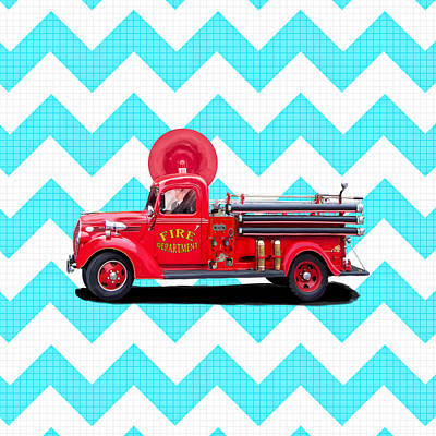 Fun Card Mixed Media - Vintage Fire Truck by Mark Tisdale