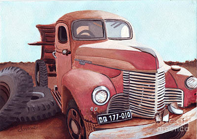 Old Fire Trucks Painting - Vintage Fire Truck Watercolor Painting In A Local Scrapyard by Sonja Taljaard