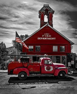 Photograph - Vintage Firetruck And Firehouse by Mountain Dreams