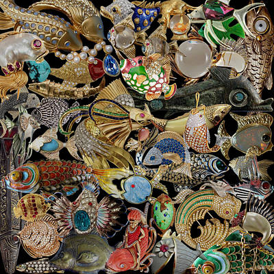 Photograph - Vintage Fish Brooches by Andrew Fare