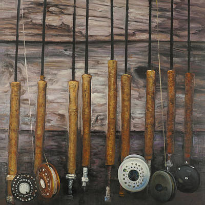 Old Man Fishing Painting - Vintage Fishing Rods by Atelier B Art Studio